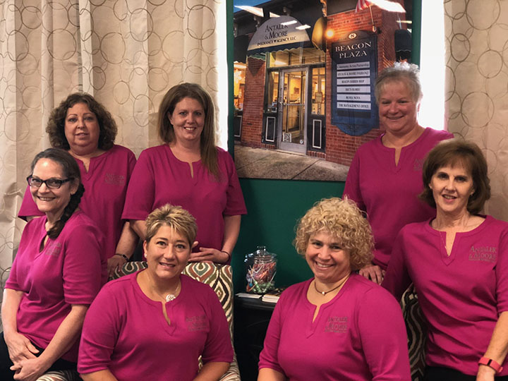 group shot of 7 women in pink