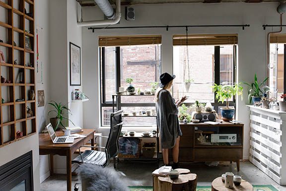 woman in urban house